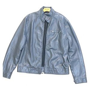 Kenneth Cole Gray Leather Jacket